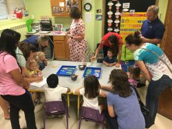 Children working on an art project with parents