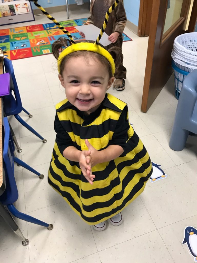 Little girl as a bumble bee