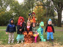 Children posing at the pumpkin patch